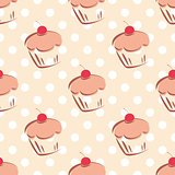 Seamless vector pattern or tile texture with cherry and hearts cupcakes and white polka dots on pink background