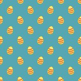 Tile vector pattern with easter eggs on blue background
