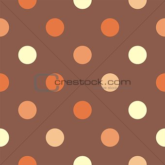 Tile vector pattern with polka dots on brown background