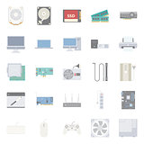 Computer components and peripherals flat icons set
