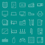 Computer components and peripherals thin lines icons set