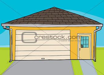 Broken Door on Yellow Garage