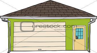 Green Garage with Broken Window