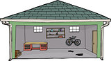 Isolated Open Garage with Bike