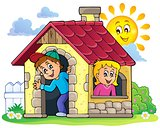 Children playing in small house theme 3