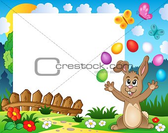 Frame with Easter rabbit theme 4