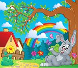 Spring theme with bunny and rainbow