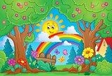 Spring theme with rainbow