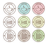 Vector set of food icons in outline style
