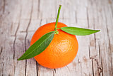 fresh tangerine with leaves