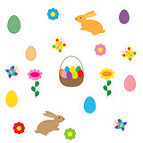 easter egg and rabbit on white background