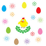 easter egg and flower on white background