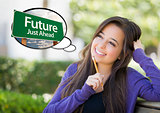 Young Woman with Thought Bubble of Future Green Road Sign