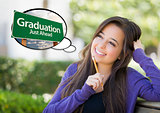 Young Woman with Thought Bubble of Graduation Green Road Sign