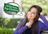 Woman, Thought Bubble of I'll Be Home For Christmas Sign