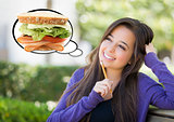 Pensive Woman with Big Sandwich Inside Thought Bubble