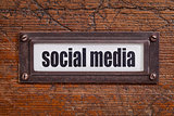 social media - file cabinet label