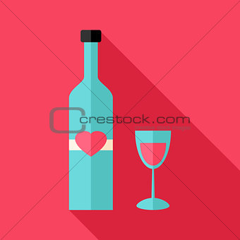 Alcohol bottle with glass with heart