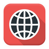Globe app icon with long shadow