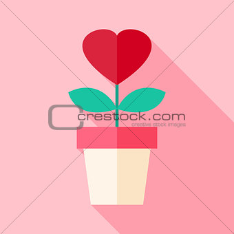 Pot with flower with heart