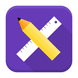 Pencil and ruler app icon with long shadow