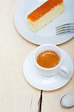 italian espresso coffee and cheese cake