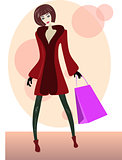 Cartoon girl with shopping bag