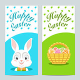 Brochures with Happy Easter with Easter bunny. Vector.