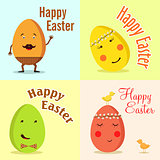 Happy Easter. Vector illustration of funny eggs.