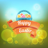 Happy Easter. Vector illustration on a blurred background.