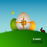 Easter card with eggs in the grass