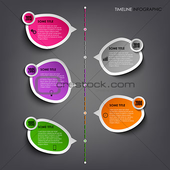 Time line info graphic with colored stickers template