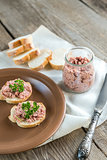 Sandwiches with pate on the plate