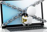 3d Laptop with lock and chain. Data security concept.