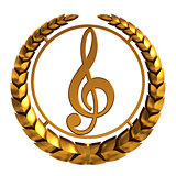 Golden Treble Clef. 3D Model.