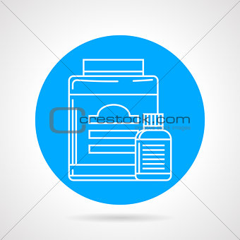 Flat round vector icon for sport supplements