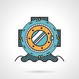 Scuba helmet flat line design vector icon