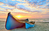 fishing boats and sunrise