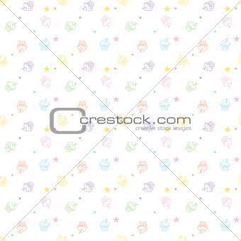 Cakes seamless pattern white colors