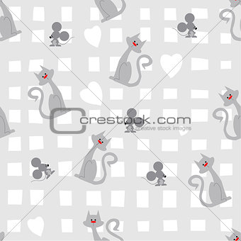 Cat-mouse seamless pattern