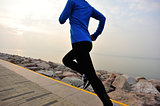 Runner athlete running on stone beach , woman fitness jogging workout wellness concept.