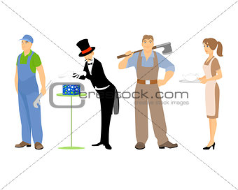 Four professions background in white