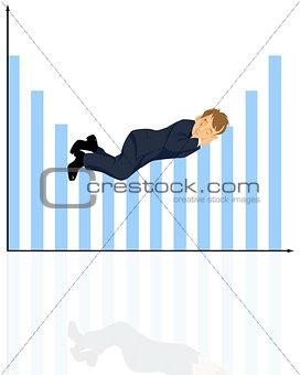 Sleeping businessman on  graphic