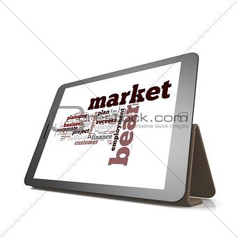 Bear market word cloud on tablet