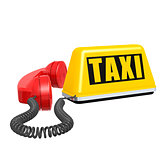 Taxi car sign and telephone on white isolated background