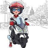Vector cute girl on a scooter in Paris