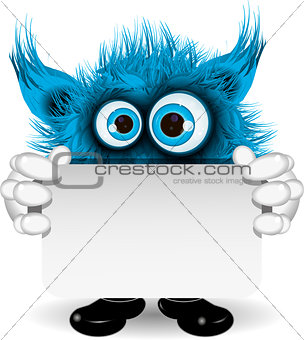 Blue Monster with a White Background