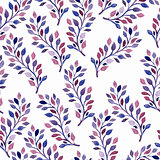 Vector Seamless Spring Pattern with Watercolor Branches