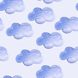 Vector Seamless Pattern with Watercolor Clouds