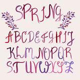 Vector Watercolor Latin Alphabet